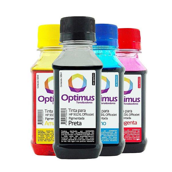 Kit de Tinta HP 7510   HP 932XL OfficeJet Pigmentada Preta + Coloridas 100ml