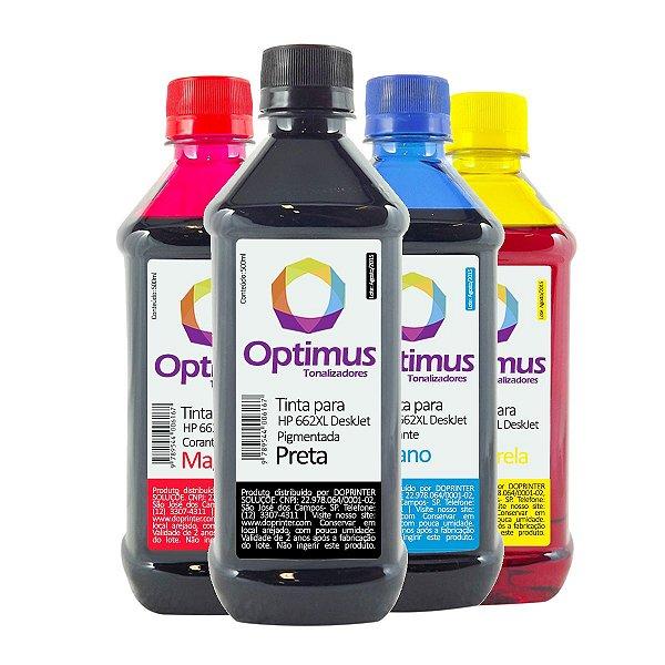 Kit de Tinta HP 662 | HP 662XL Optimus Preta + Coloridas 500ml
