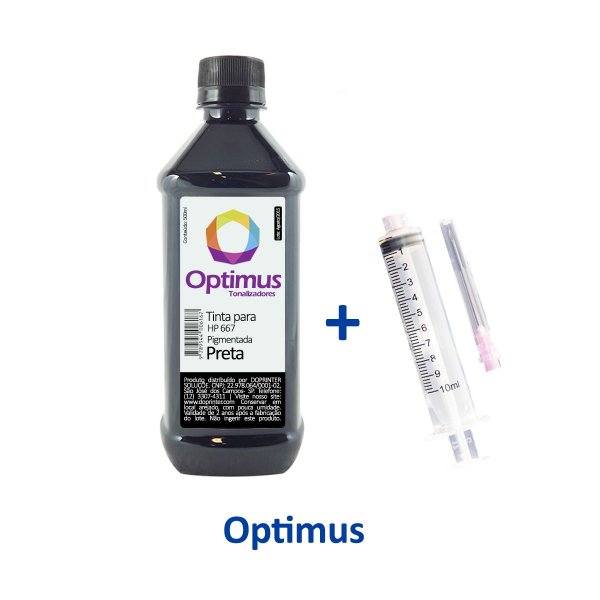 Tinta para Cartucho HP 667 | HP 2776 DeskJet Optimus Preta Pigmentada 500ml
