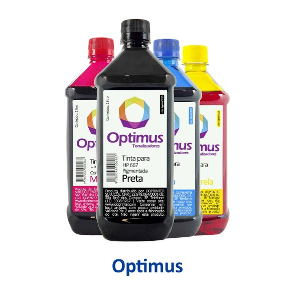 Kit de Tinta para Cartucho HP 667   HP 2776 DeskJet Optimus Preta + Coloridas 1 litro