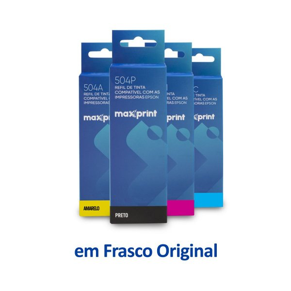 Kit de 4 Tintas Epson L4160 EcoTank   T504120   504 Maxprint Preta 127ml + Coloridas 70ml