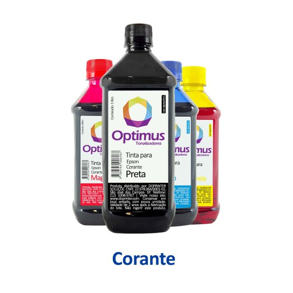 Kit de Tinta Epson L3160   544 EcoTank Optimus Corante Preta 1 litro + Coloridas 500ml