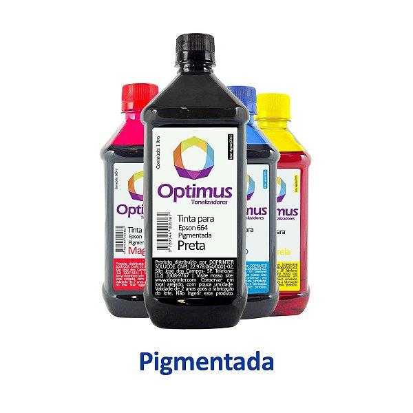 Kit de Tintas Epson L200 | T664120 | 664 EcoTank Optimus Pigmentada Preta 1 litro + Coloridas 500ml