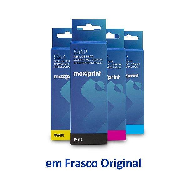 Kit de Tintas Epson L3160   T544120   544 EcoTank Maxprint Preta + Coloridas 70ml