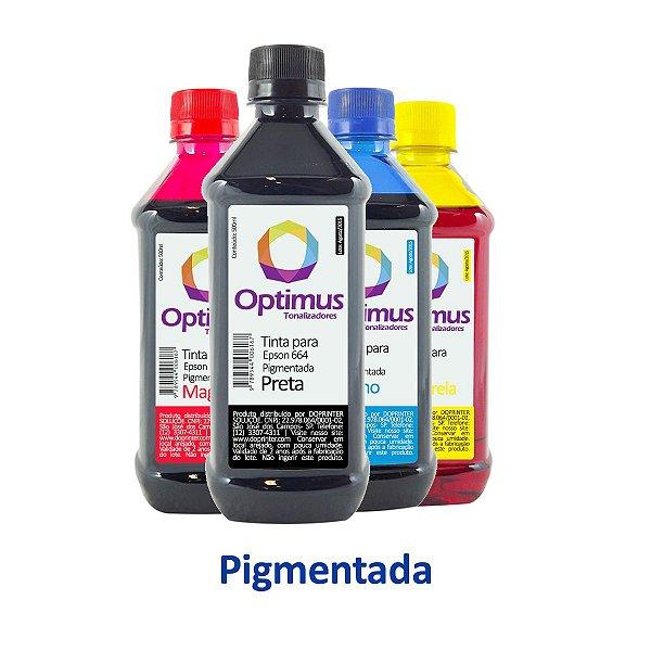 Kit de Tintas Epson L365 | T664120 | 664 EcoTank Optimus Pigmentada Preta + Coloridas 500ml