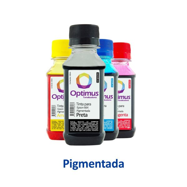 Kit de Tintas Epson L575 | T664420 | 664 EcoTank Optimus Pigmentada Preta + Coloridas 100ml