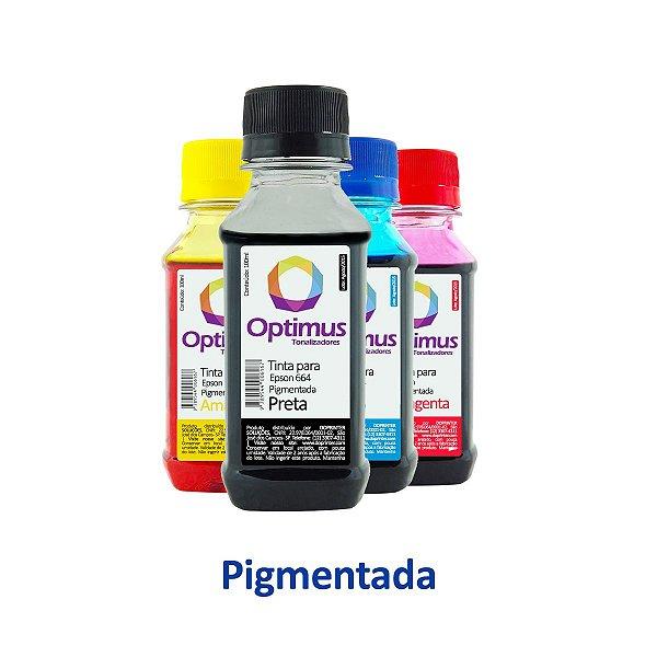 Kit de Tintas Epson L555 | T664420 | 664 EcoTank Optimus Pigmentada Preta + Coloridas 100ml