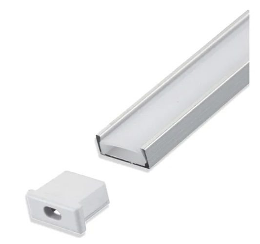 Perfil de alumínio para fita LED - 2 metros: Sobrepor