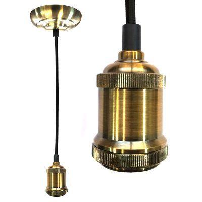Pendente Retrô Metal dourado E27 1 metro