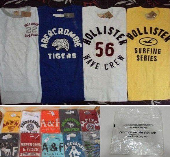 Camisetas ABERCROMBIE e HOLLISTER, Embalagens Personalizadas 10 Peças
