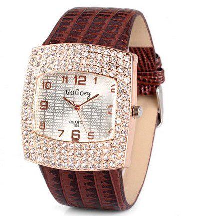 Relógio de quartzo com diamantes analógico banda de relógio de couro para mulheres Elegante -  Frete Grátis