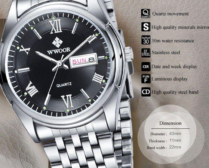 Relógio Super Luxo WWOOR 8802 Steel Band Homens Quartz Assista Luminous 30M resistente à água - Frete Grátis