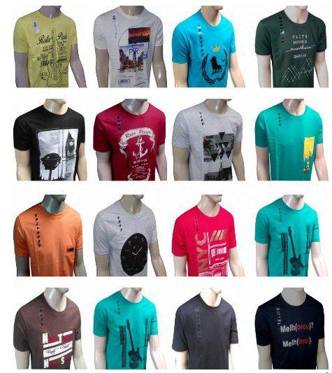 Kit 50 Camisetas Variadas 100% Algodão