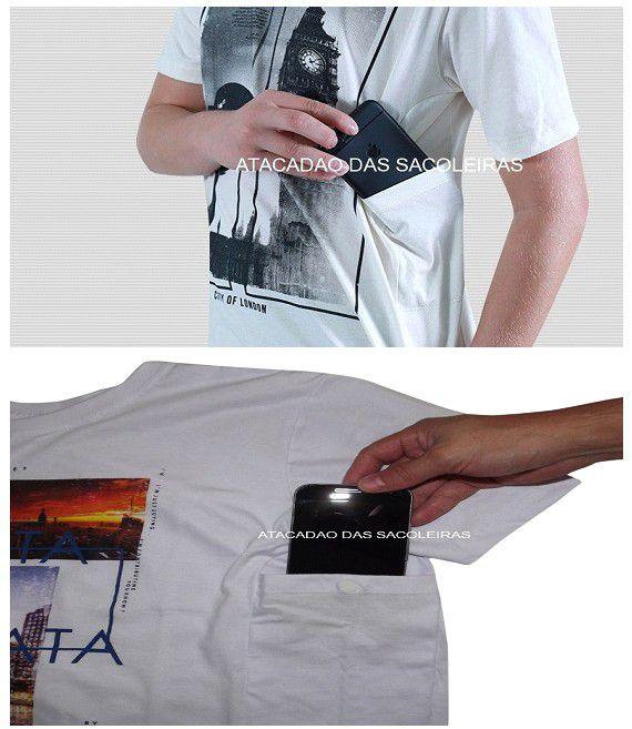 Camisetas com bolso lateral, para celular documentos etc... 10 Peças