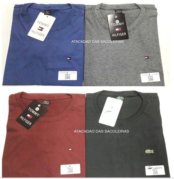 Camiseta Gola Careca Bordada Primeira Linha Malha fio 26.1  - 10 Peças