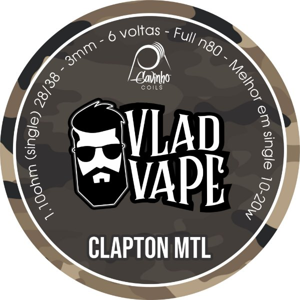 Vlad Coil - CLAPTON MTL - (28/38)  3,0mm - NI80 - 1.10ohms (Single) - 1 Par