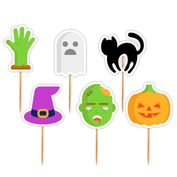 Palito Pick para Docinhos Topper Festa Halloween Sortido com 24 unidades Lembrafesta