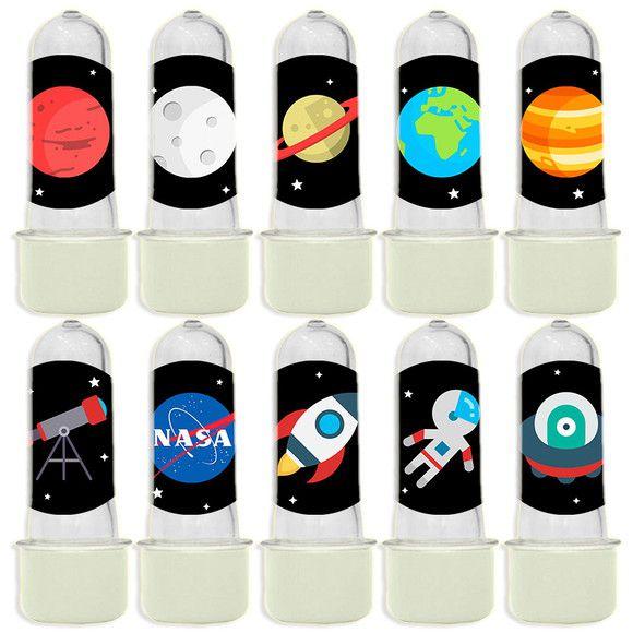 Mini Tubete para Lembrancinha Festa Astronauta - Branca - 20 unidades - Lembrafesta