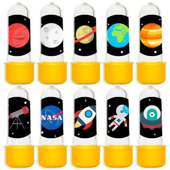 Mini Tubete para Lembrancinha Festa Astronauta - Amarela - 20 unidades - Lembrafesta
