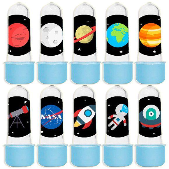 Mini Tubete para Lembrancinha Festa Astronauta - Azul Claro - 20 unidades - Lembrafesta