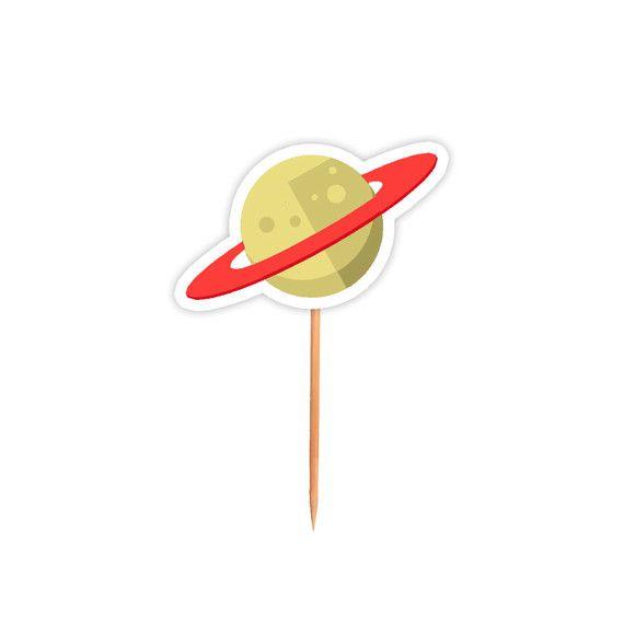 Topper para Docinhos Festa Astronauta - Saturno - 24 unidades - Lembrafesta