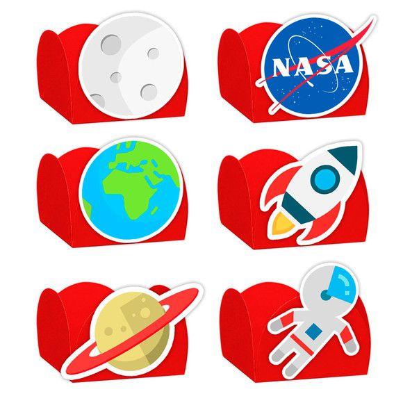 Forminha para Doces Festa Astronauta - Vermelha - Sortido - 24 Unidades - Lembrafesta