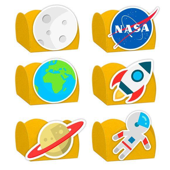 Forminha para Doces Festa Astronauta - Amarela - Sortido - 24 Unidades - Lembrafesta