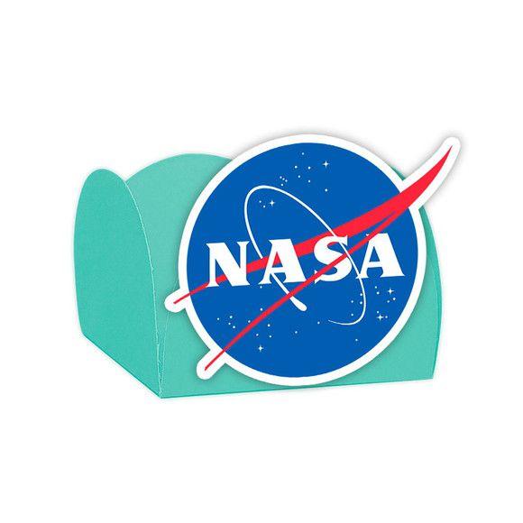 Forminha para Doces Festa Astronauta - Azul Claro - Nasa - 24 Unidades - Lembrafesta