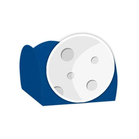 Forminha para Doces Festa Astronauta - Azul - Lua - 24 Unidades - Lembrafesta