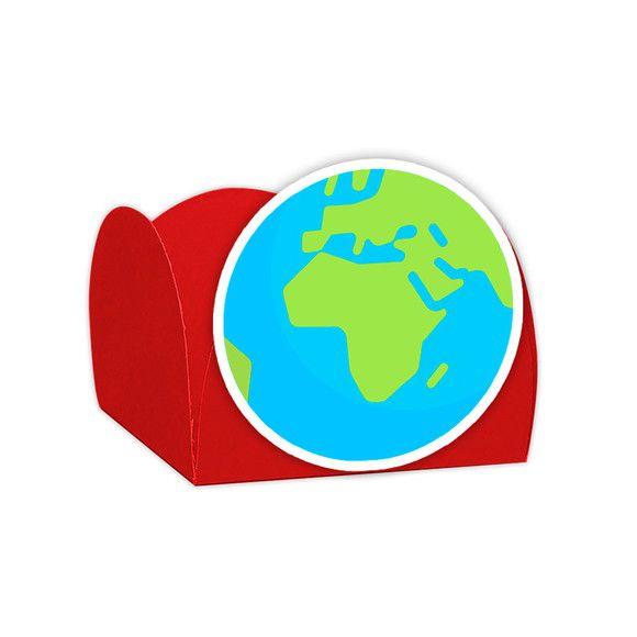 Forminha para Doces Festa Astronauta - Vermelha - Terra - 24 Unidades - Lembrafesta