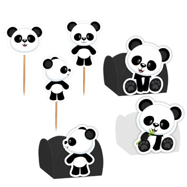 Kit Decoração Festa Panda - 100 Itens - Lembrafesta