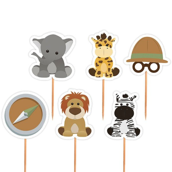 Topper para Docinhos Festa Safari - Sortido - 24 unidades - Lembrafesta