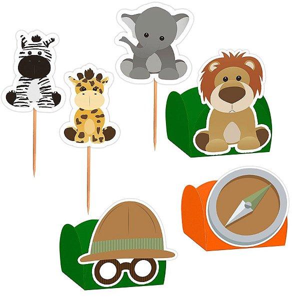 Kit Decoração Festa Safari - 100 Itens - Lembrafesta