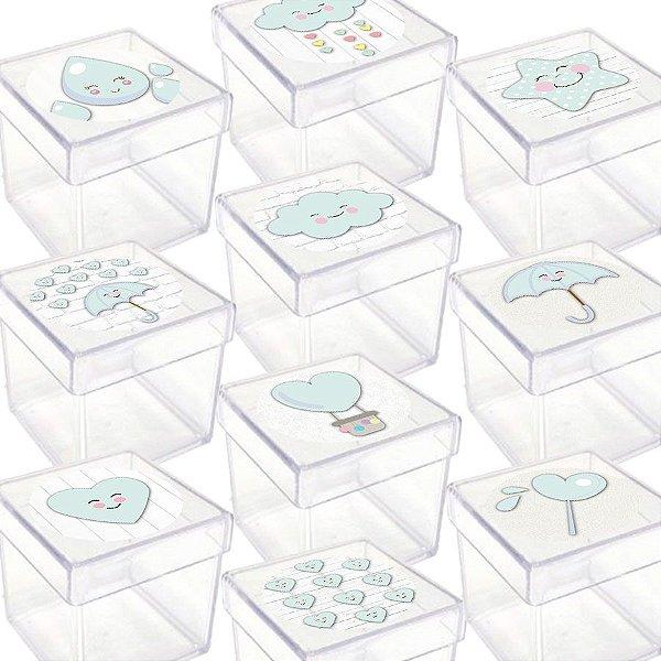 Caixinha Acrílica para Lembrancinha Festa Chuva de Amor Azul - 20 Unidades - Lembrafesta