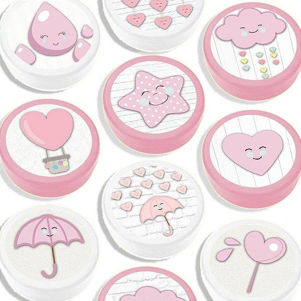 Latinha para Lembrancinha Festa Chuva de Amor Rosa - Sortida - 20 unidades - Lembrafesta