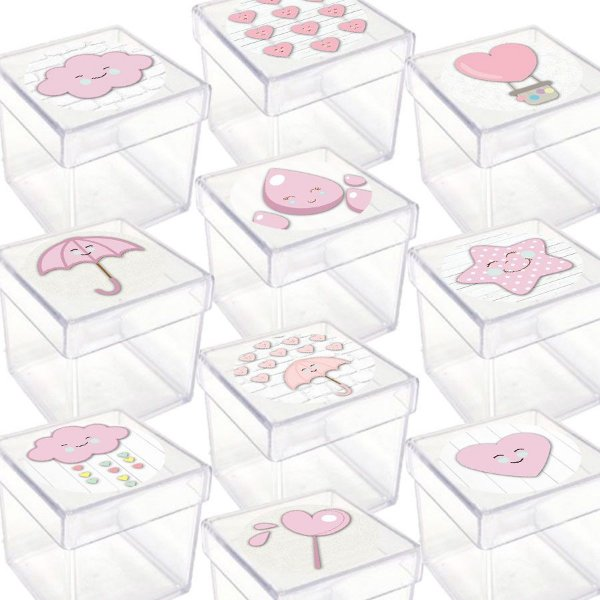 Caixinha Acrílica para Lembrancinha Festa Chuva de Amor Rosa - 20 Unidades - Lembrafesta