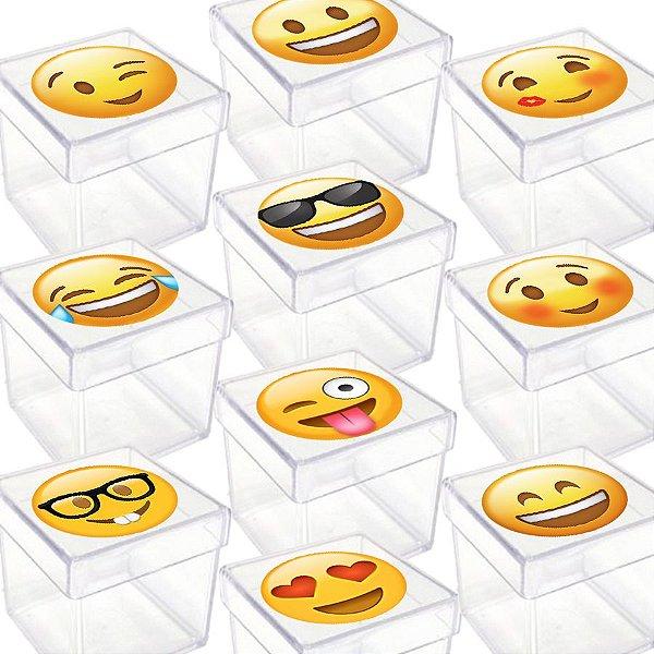 Caixinha Acrílica para Lembrancinha Festa Emoji - 20 Unidades - Lembrafesta