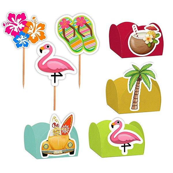 Kit Decoração Festa Tropical - 100 Itens - Lembrafesta