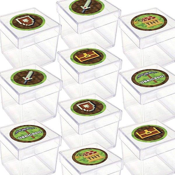 Caixinha Acrílica para Lembrancinha Festa Minecraft - 20 Unidades - Lembrafesta