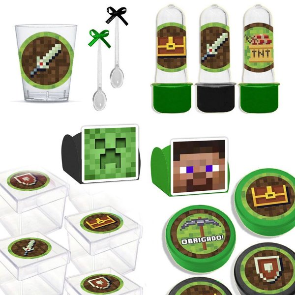 Kit Lembrancinhas Festa Minecraft para 30 Convidados - 200 Itens - Lembrafesta
