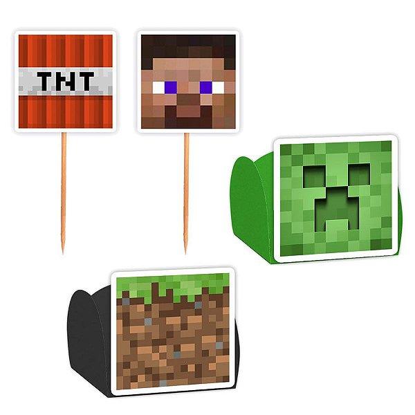 Kit Decoração Festa Minecraft - 100 Itens - Lembrafesta