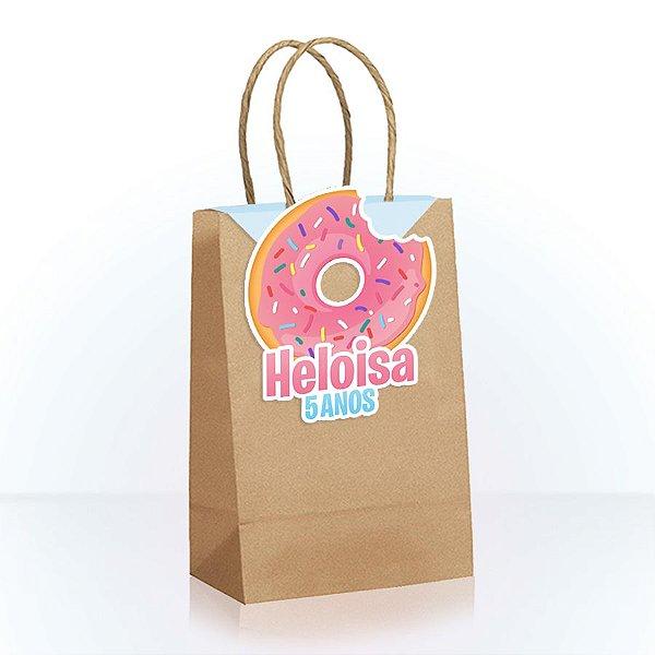 Sacola de Papel Personalizada para Lembrancinha Festa Donuts - 1 Unidade