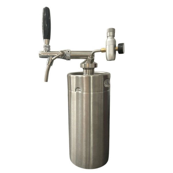 KIT: Growler Inox Mini Keg 3,6L + Tampa Growler em Inox com Torneira Italiana e Reguladora de CO2