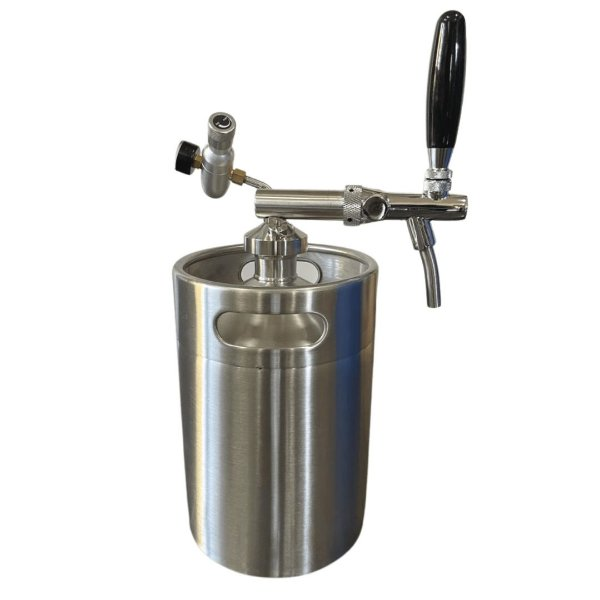 KIT: Growler Inox Mini Keg 5L + Tampa Growler em Inox com Torneira Italiana e Reguladora de CO2