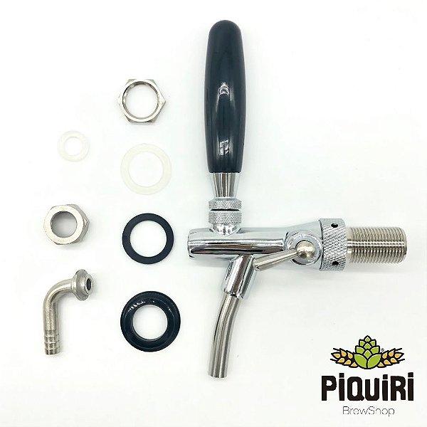 Kit: Torneira Tipo Italiana (com controle de fluxo) +  Espigão Curvo + Porca + Vedação O'ring