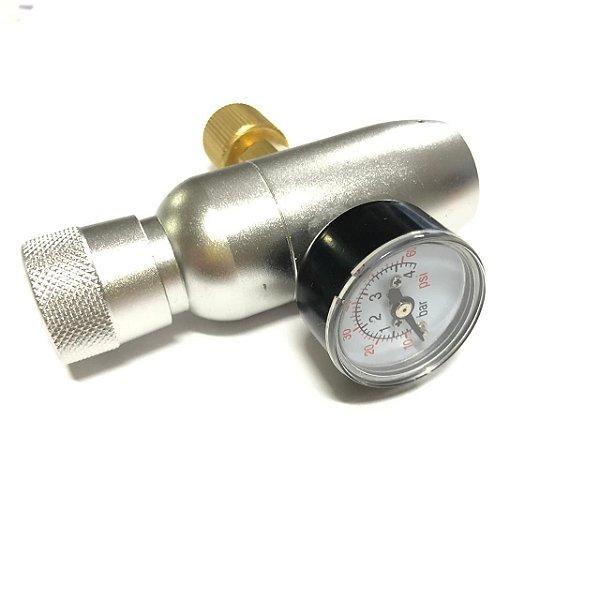 """Mini Reguladora de CO2 com Manometro, para cilindros de 16/32g (rosca 3/8"""")"""