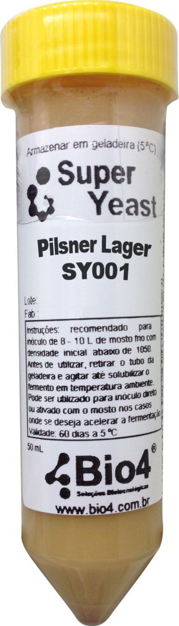 BIO4 Levedura Líquida Pilsner Lager SY001- Frasco 50ml