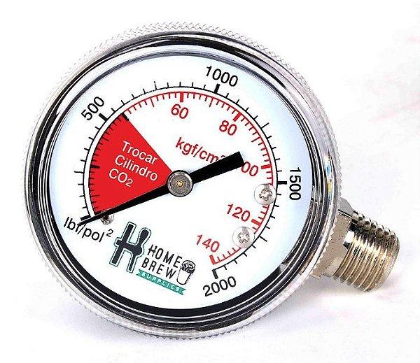 Manômetro de Alta para Reguladores de CO2