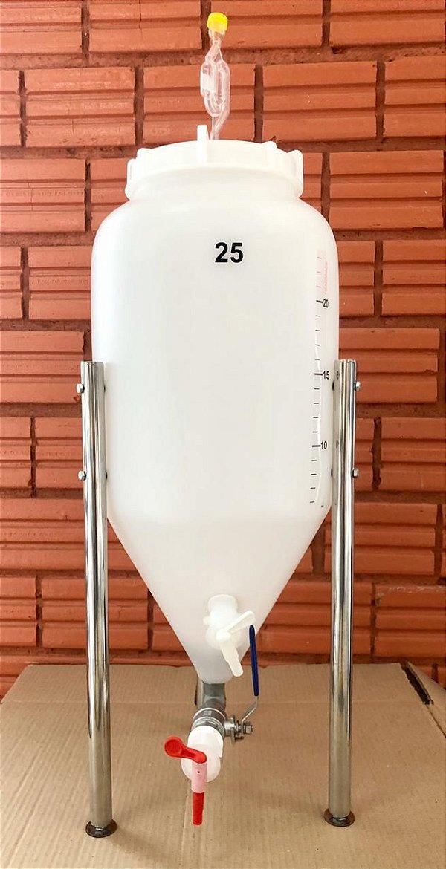 KIT COMPLETO: Fermentador Cônico Roto Plus Branco 25 Litros + ACESSÓRIOS