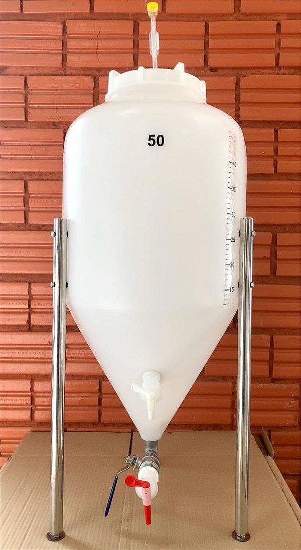 KIT COMPLETO: Fermentador Cônico Roto Plus Branco 50 Litros + ACESSÓRIOS